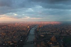 Coucher de soleil sur Paris et sur la Seine