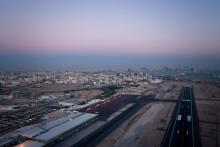 L'aéroport et la ville de Doha