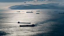 Contre jour sur le Trafic maritime à Gibraltar