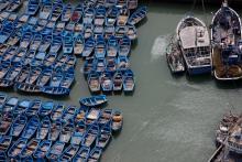 Barques bleues dans le port de pêche d'Essaouira